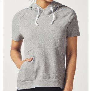 [Fabletics] Gray Short Sleeve Pullover Sweatshirt